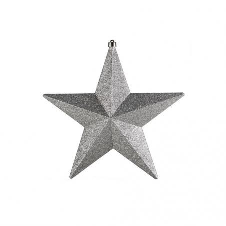 Large Silver Glitter Finish Ball Shape Hanging Decoration