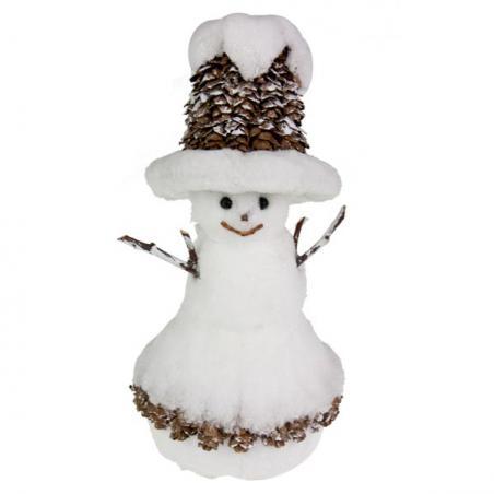 White Sparkle & Cone Snowman Ornament - 10cm