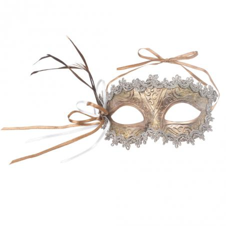 Decorative Dark Blue & Gold Opera Mask - 15cm x 8cm