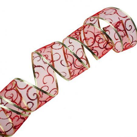 Red Organza Woven Edge Ribbon - 25m x 25mm