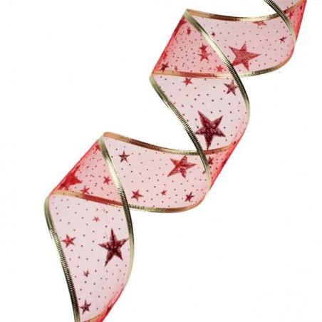 Red With Red Glitter Swirls Design Wire Edged Sheer Ribbon - 6cm X 2.7m