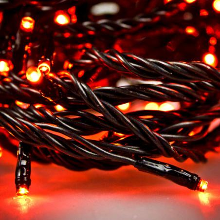 Konstsmide 8.9m Length Of 100 Red Indoor And Outdoor Static LED Lights Black Cable
