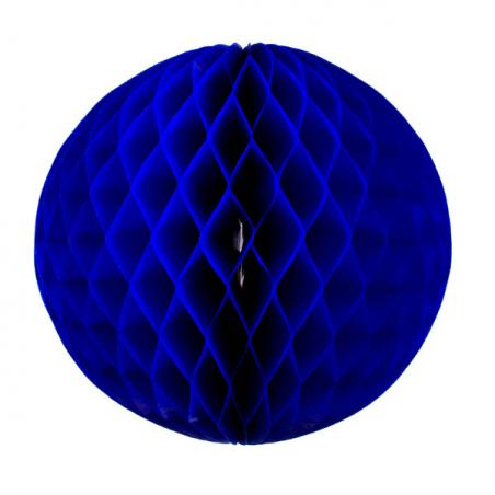 Blue Flame Resistant Honeycomb Paper Ball Hanging Decoration - 20cm