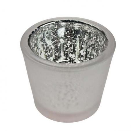 Silver Frosted Flecked Glass Candle Holder - 65mm