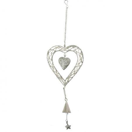 Silver Droplet Hanging Decoration - 33cm