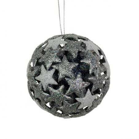 5 Point Silver Glitter Star - 20cm