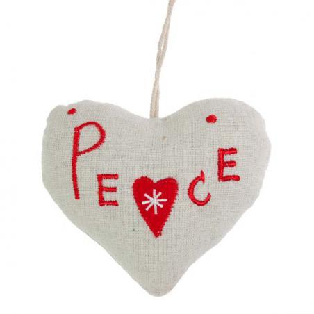Fabric Hanging Love Heart Decoration - 10cm