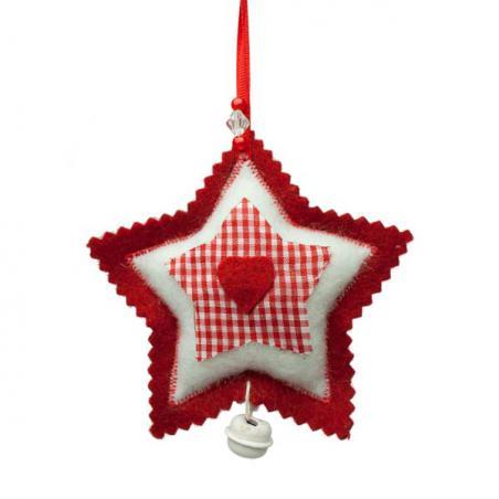 Red Scalloped Edged Felt Heart Hanging Decoration - 10cm