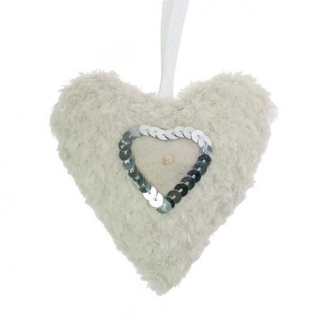 Blue Padded Hanging Heart Decoration - 10cm