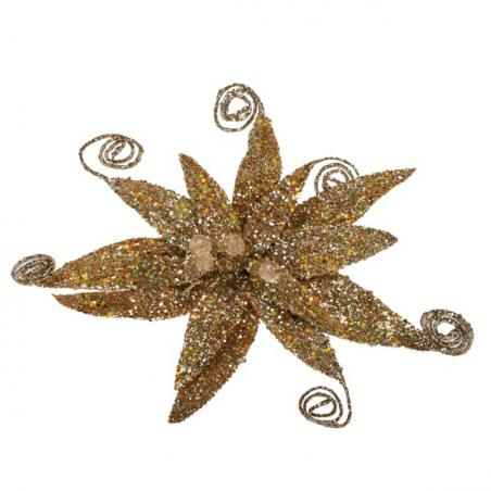 Brown Glitter Fern Flower On Clip - 17cm