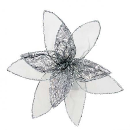 Silver Glitter Clematis Flower - 30cm