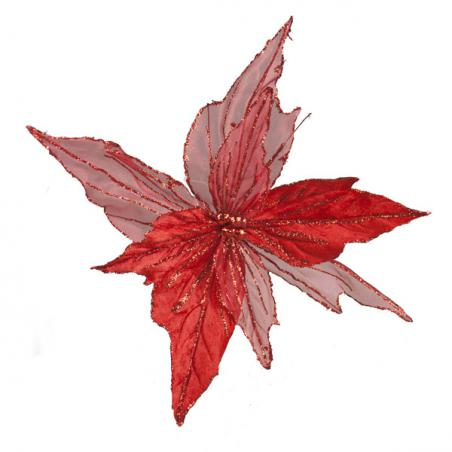 Red Feather Flower Clips - 2 x 12cm