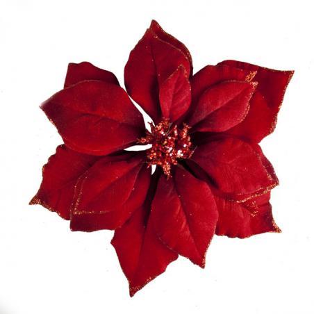 Dark Red Fabric Poinsettia Clip - 24cm