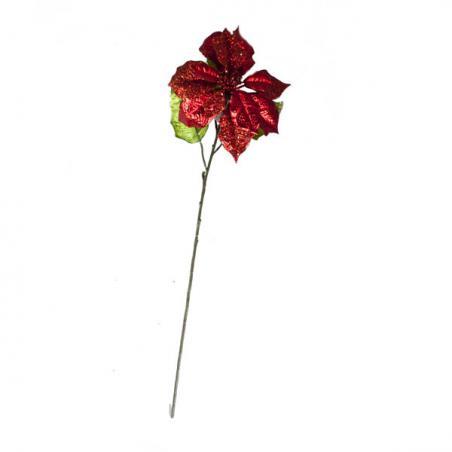 Red Fabric Poinsettia Clip - 24cm