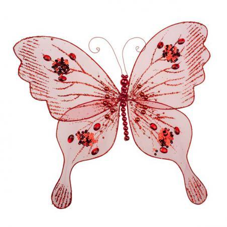 Gisela Graham Red Velvet & Sequin Butterfly - 20cm