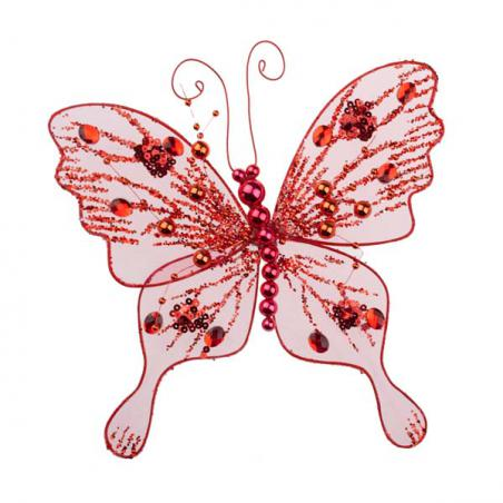 Decorative Red Net Butterfly on a Clip - 34cm x 30cm