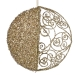 Round Gold Filigree & Glitter Hanging Decoration - 15cm