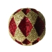 Red & Gold Diamond Cut Glitter Bauble - 20cm