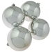 Silver Baubles Shiny Shatterproof - Pack Of 4 x 100mm