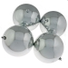 Silver Baubles Shiny Shatterproof - Pack Of 4 x 140mm