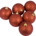 Xmas Baubles - Pack of 6 x 80mm Red Glitter Shatterproof