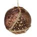 Brown & Gold Fabric & Beaded Bauble - 100mm