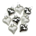 Silver Glass Hearts - 8 x 40mm