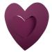 Aubergine Hanging Paper Heart Decoration - 30cm