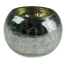 Silver Crackle Glass Round Tealight Holder - 8cm X 6cm