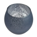 Rounded Grey Frosted Flecked Glass Tealight Candle Holder - 7cm