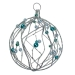 Silver Glitter & Bead Wire Ball - 100mm
