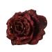 Dark Red Silk Sparkle Rose Clip - 14cm